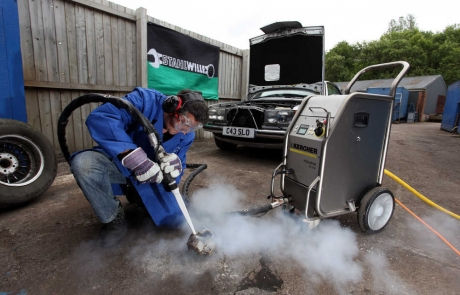 Karcher Dry ice blasting at the garage of classic Mercedes restorer Mark Cosovich in Swansea